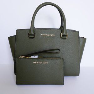 Michael Kors Selma M Satchel Bag & Wallet Green